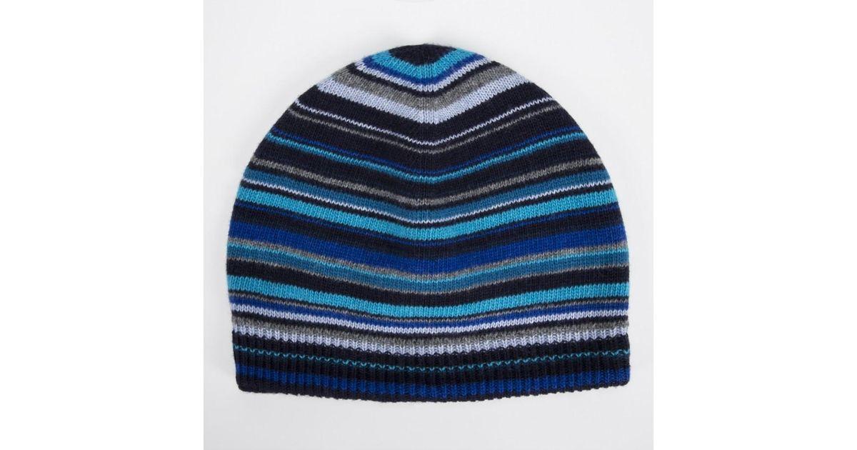 222673105e4 Paul Smith Men s Blue Signature Stripe Wool-blend Beanie Hat in Blue for Men  - Lyst