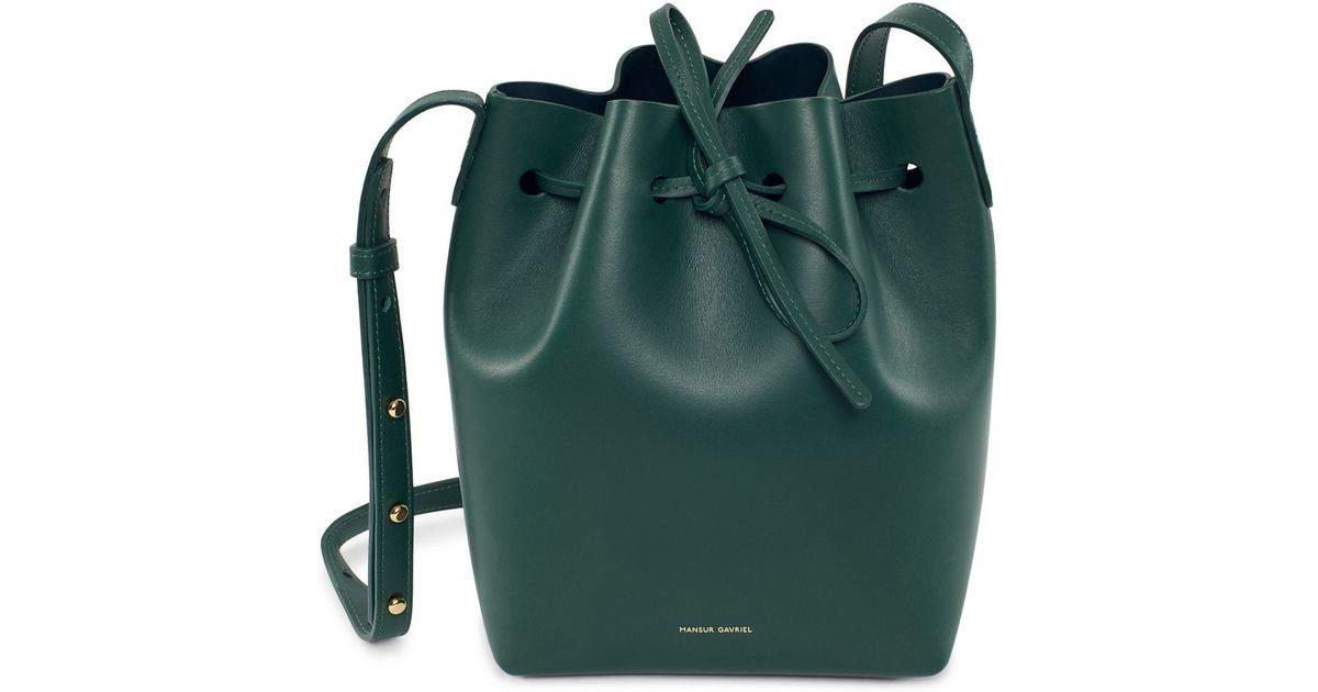 56266121c092 Lyst - Mansur Gavriel Mini Calf Bucket Bag in Black