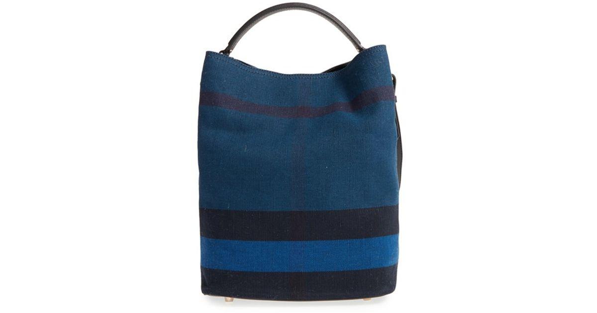 7d6e8b63434d Lyst - Burberry Medium  Ashby  Bucket Bag in Blue