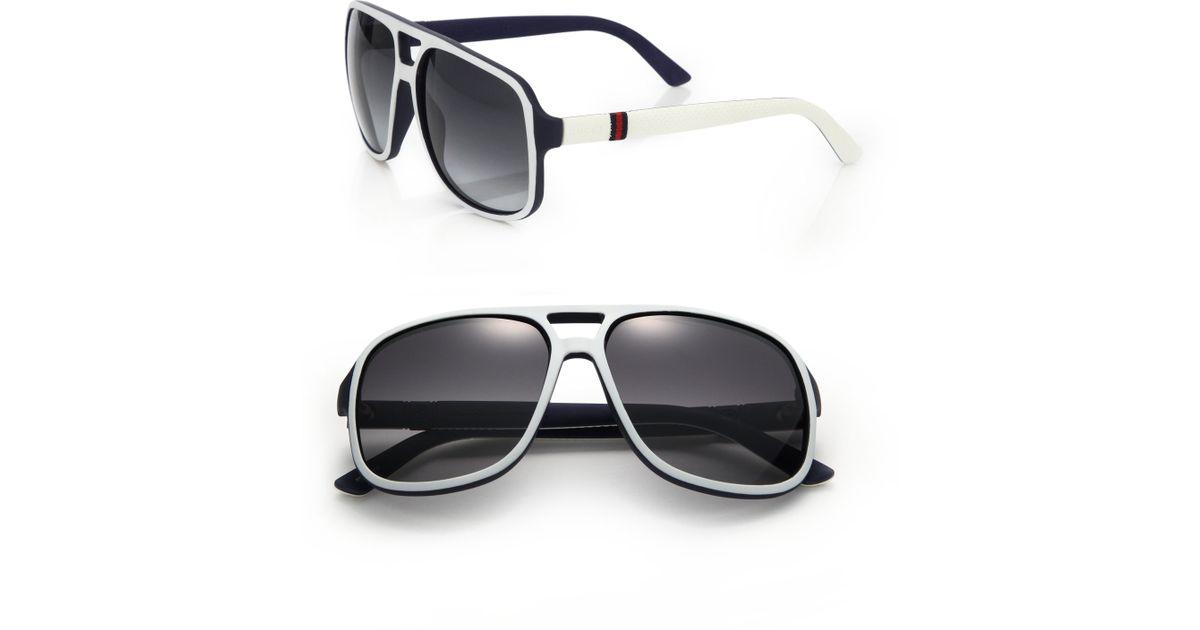 e08b3921d03 Gucci 60mm Aviator Sunglasses Source · Lyst Gucci 1115 s 59mm Mirror Aviator  Sunglasses in White