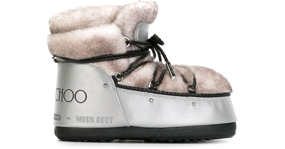 41057b8bafc Lyst - Jimmy Choo Shearling-Paneled Snow Boots in Natural