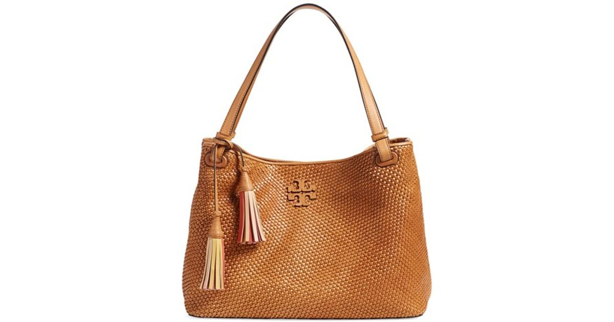 cac58b869ef5 Lyst - Tory Burch  thea  Woven Leather Tote in Brown