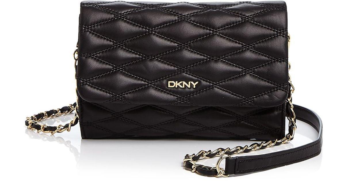 DKNY - Black Gansevoort Quilted Nappa Small Flap Crossbody - Lyst f6a5122032fad