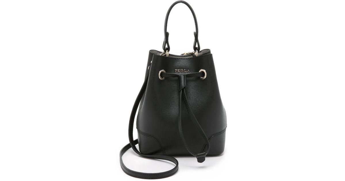 Lyst - Furla Stacy Mini Drawstring Bucket Bag in Black