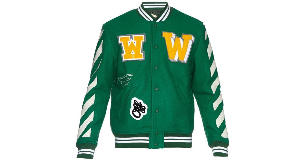 0c214896d7f7 Lyst - Off-White c o Virgil Abloh Letterman Wool-blend Varsity Jacket in  Green for Men
