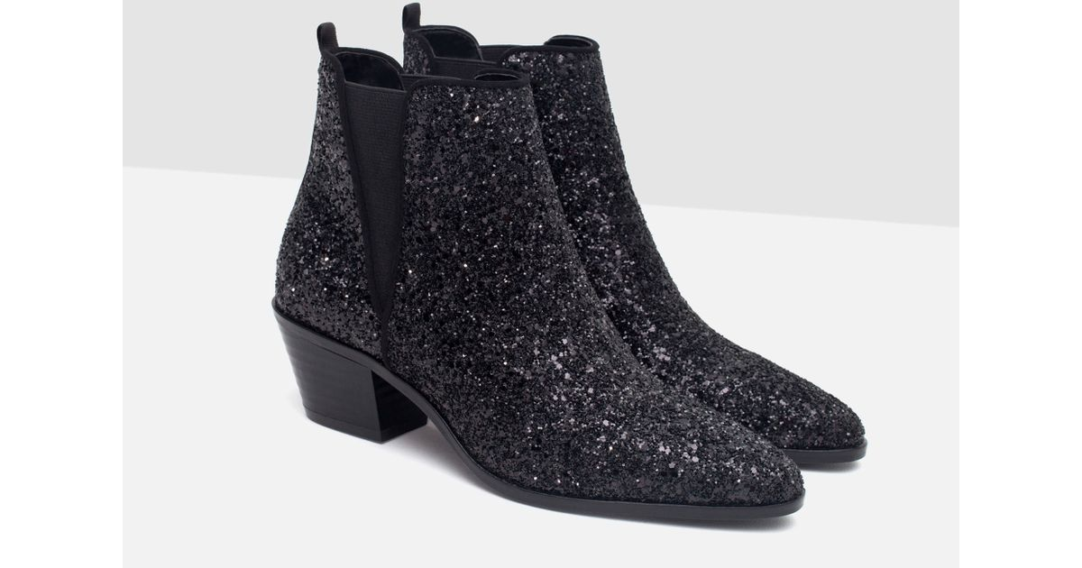 zara sparkle ankle boots in black lyst