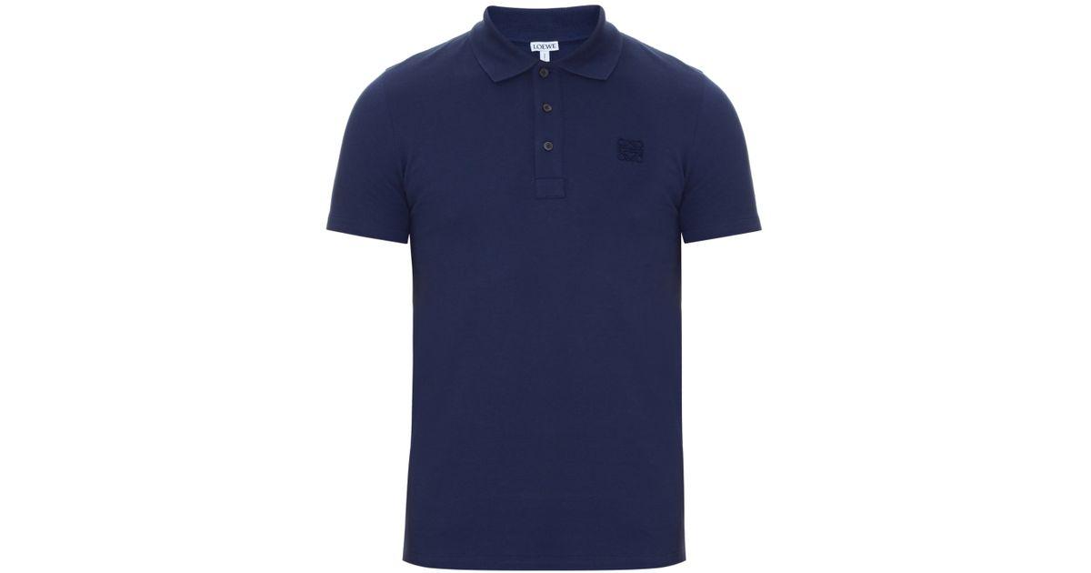 Loewe logo embroidered cotton piqu polo shirt in blue for for Work polo shirts embroidered