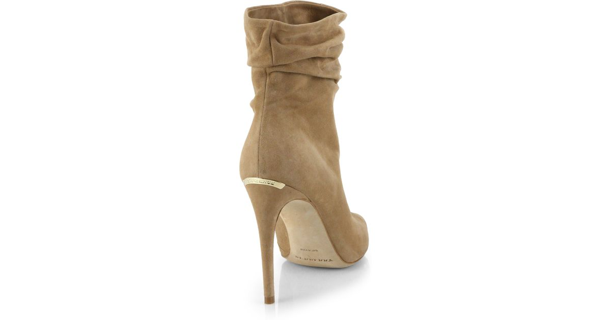 a411ff719f6 Lyst - Burberry Burlison Open-Toe Suede Leather Booties in Natural