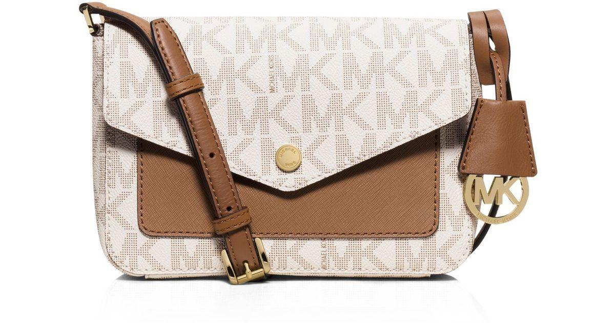973e73db00de MICHAEL Michael Kors Small Logo Flap Crossbody in Brown - Lyst