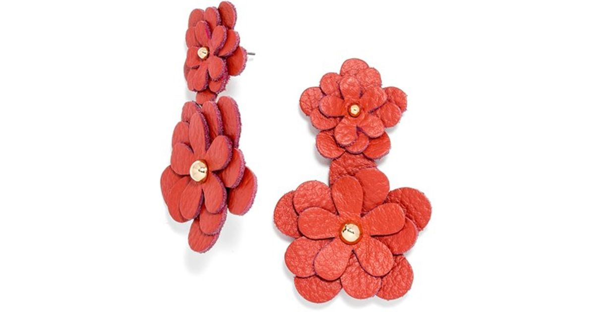 Lyst Baublebar Zoe Leather Flower Drop Earrings In Red