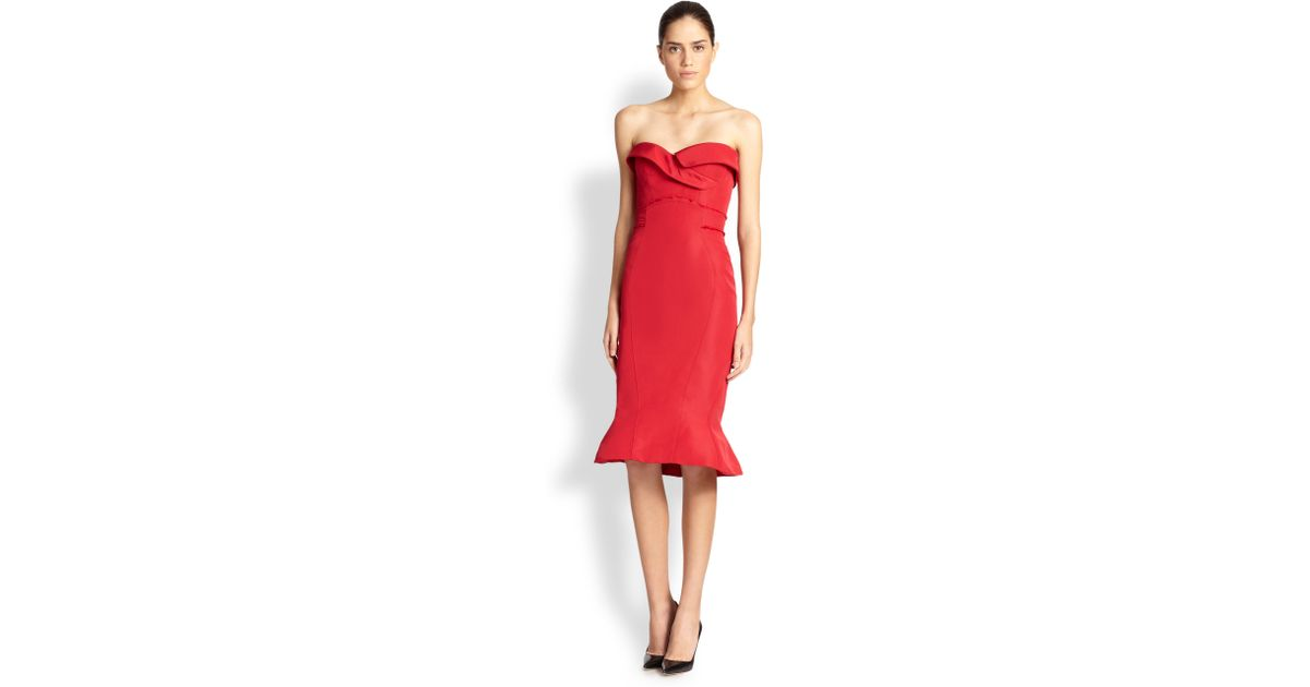 Zac posen red cocktail dress
