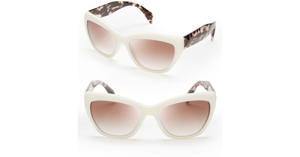 861d1553f6db ... netherlands lyst prada cat eye sunglasses in white cf47f 3a483 ...