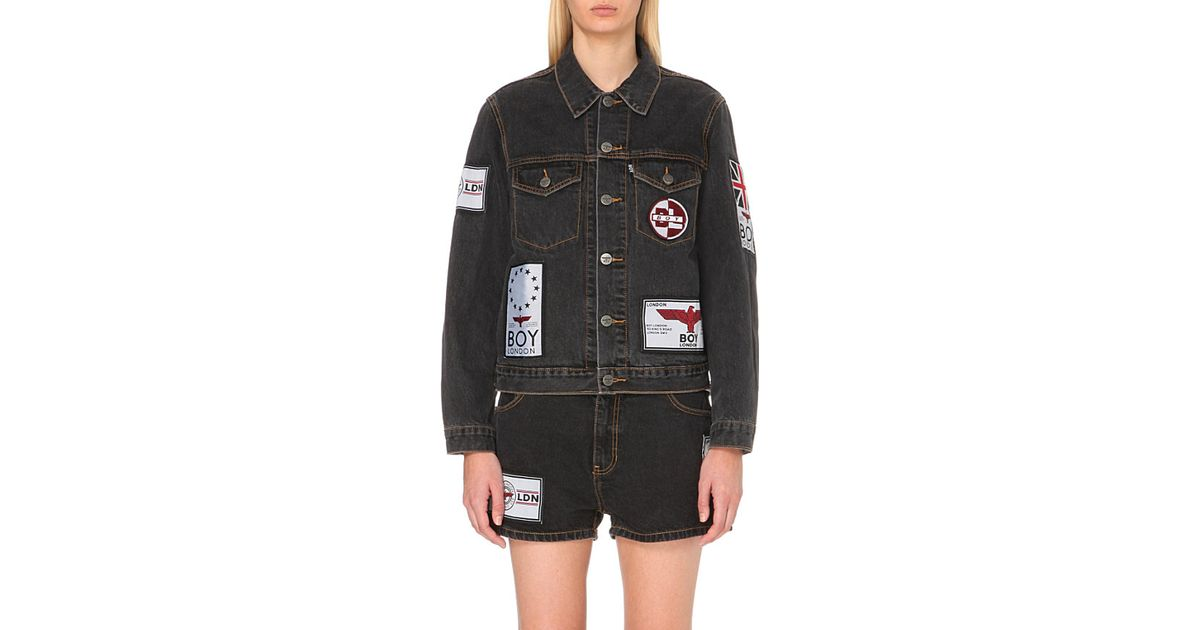 Boy london Patch-appliqué Denim Jacket in Black for Men | Lyst