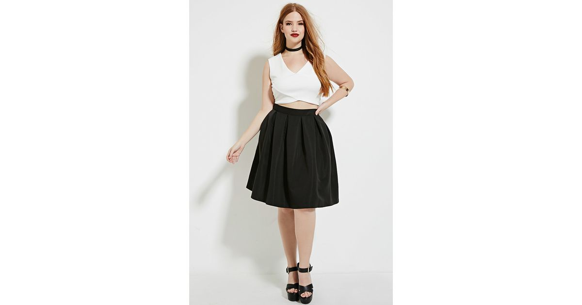 3d46aa99aa6 Lyst - Forever 21 Plus Size Pleated Skirt in Black