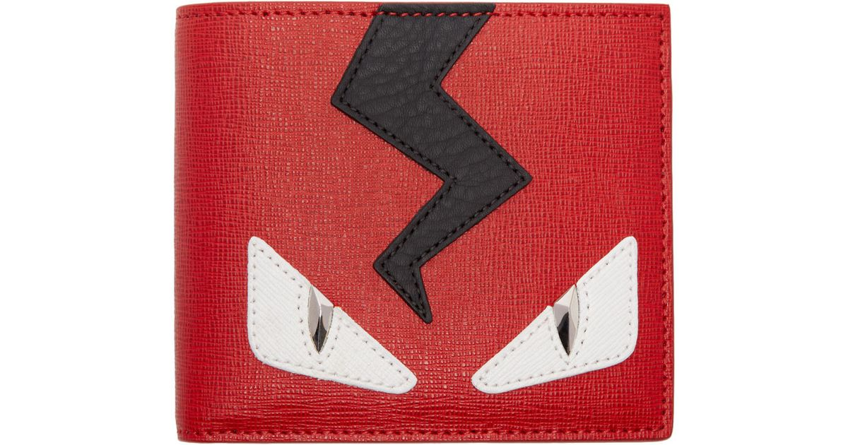 93ce558fa7 Fendi Red And Black Monster Eyes Bifold Wallet in Red for Men - Lyst