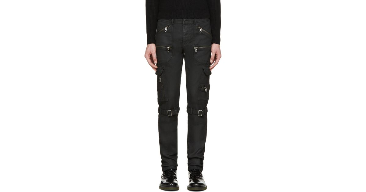 f619365796 Diesel Black Gold Black Coated And Distressed Biker Jeans in Black for Men  - Lyst