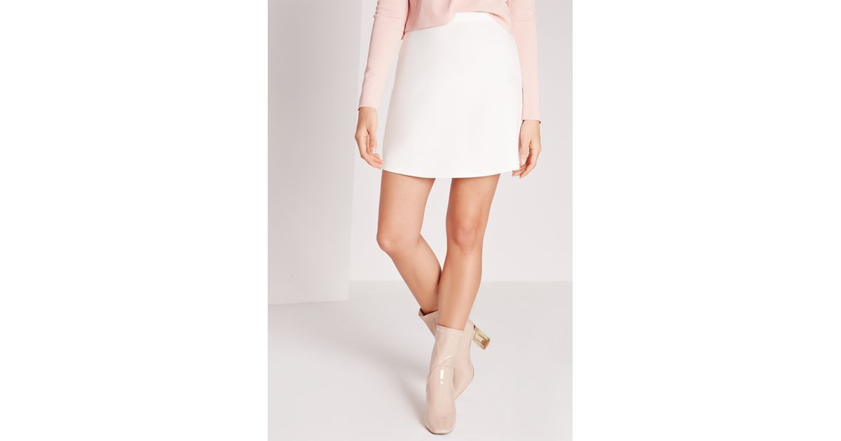 missguided scuba a line mini skirt white in white lyst