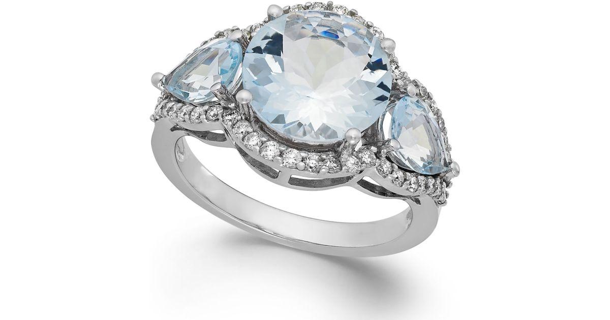 Macy s Aquamarine 4 3 8 Ct T w And Diamond 3 8 Ct T w Ring In 14k