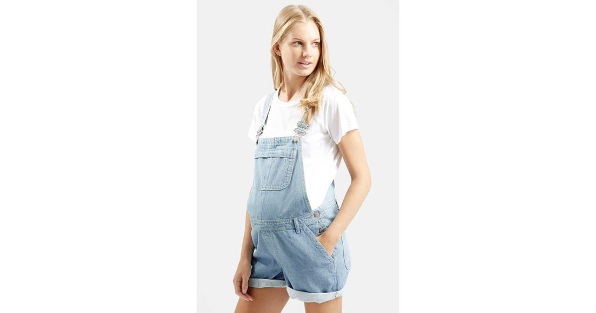 2cb661f01a5f7 TOPSHOP Short Maternity Overalls in Blue - Lyst