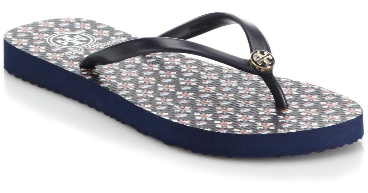 d9588ad1505 Lyst - Tory Burch Printed Flip Flops in Blue
