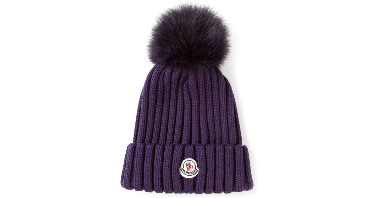 37f2e4c34c7 Moncler Bobble Top Beanie in Purple - Lyst