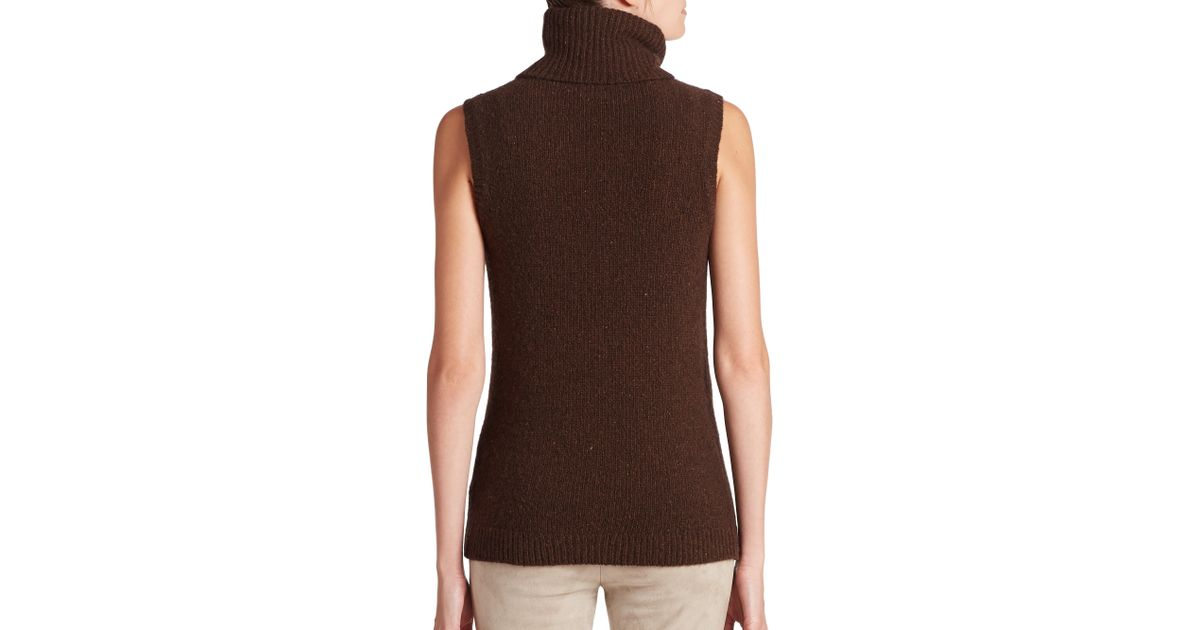 100b9132c6029 Lyst - Ralph Lauren Black Label Donegal Cashmere Sleeveless Turtleneck in  Brown