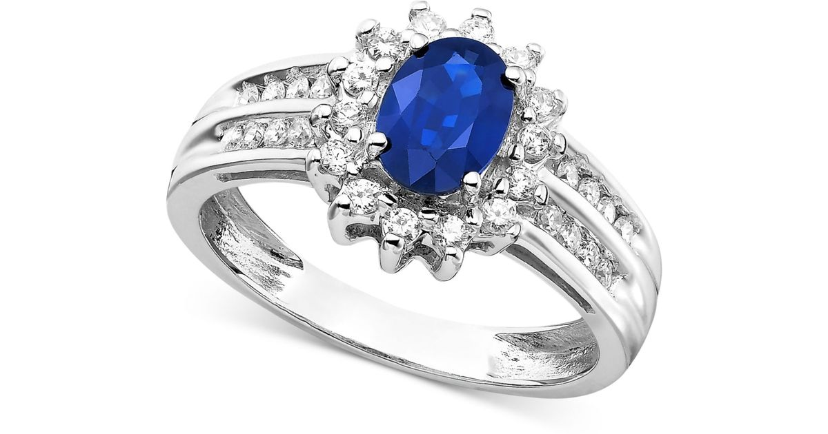Macy s Sapphire 1 Ct T w And Diamond 1 3 Ct T w Ring In 14k White