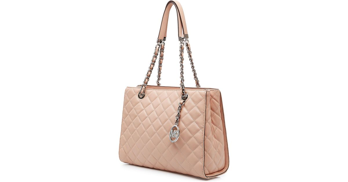 0c98f4e9d934 MICHAEL Michael Kors Susannah Large Quilted Leather Tote - Rose in Pink -  Lyst