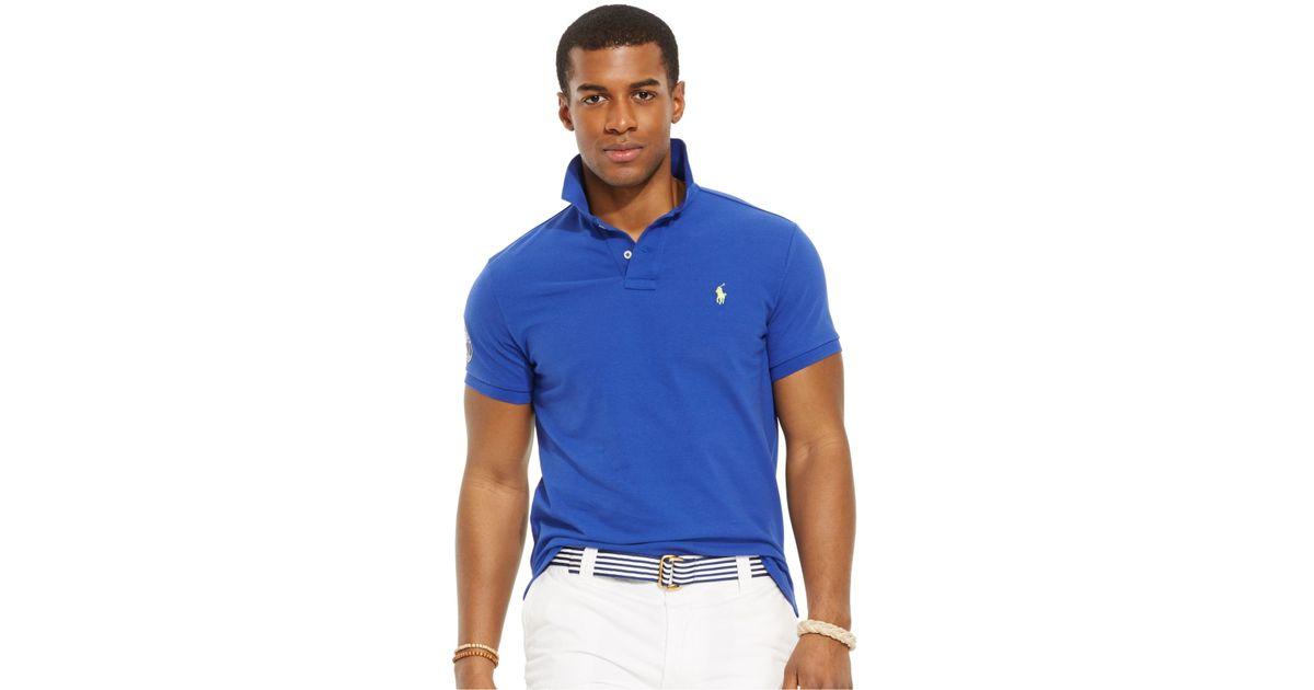 ae20c53354db5 Lyst - Polo Ralph Lauren Wimbledon Custom-fit Polo Shirt in Blue for Men