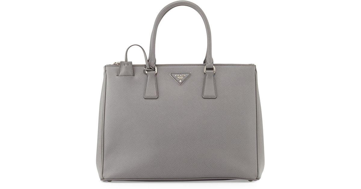04df762cf4ce Lyst - Prada Saffiano Double-Zip Executive Tote Bag With Strap in Gray