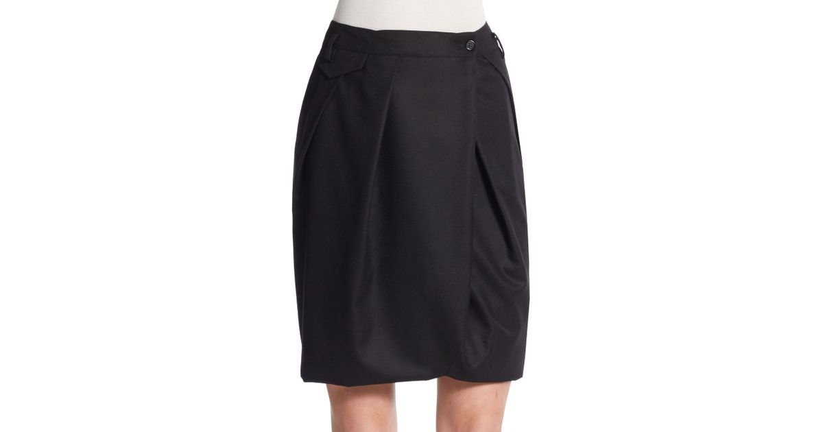 pauw gathered wool pencil skirt in black lyst