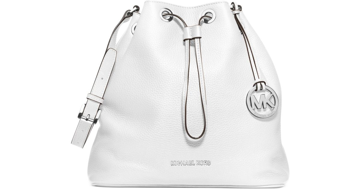deba769afc0b Lyst - Michael Kors Michael Jules Large Drawstring Shoulder Bag in White