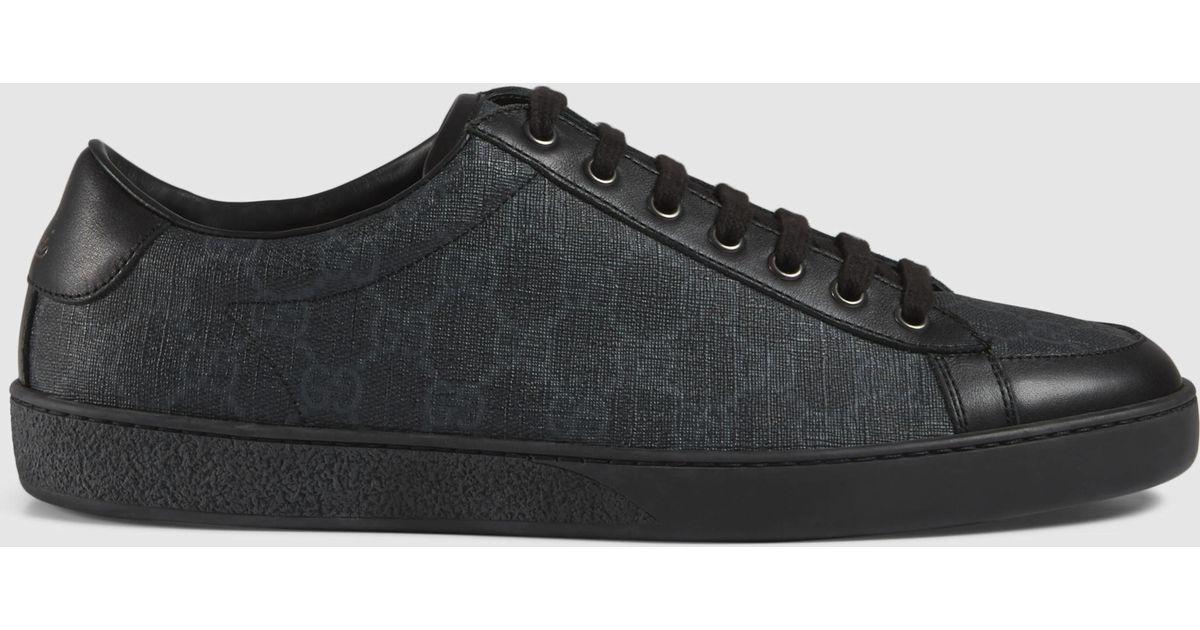lyst gucci gg supreme sneaker in black for men. Black Bedroom Furniture Sets. Home Design Ideas