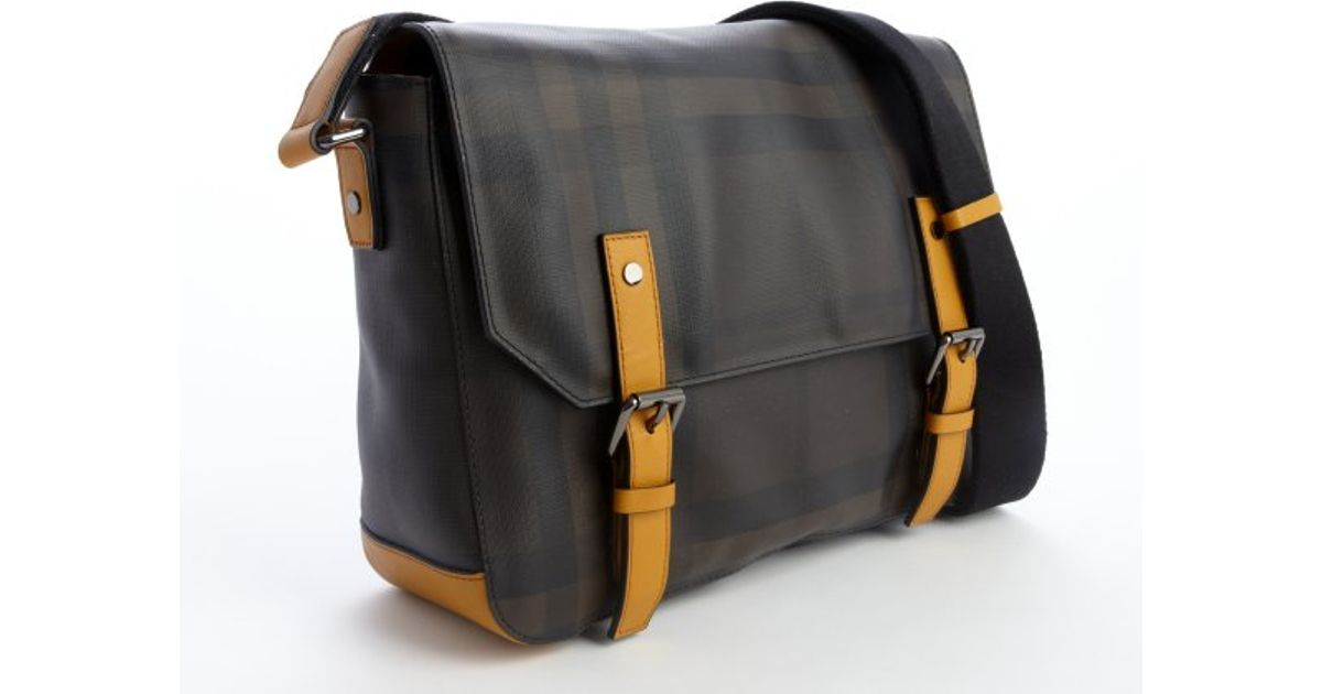a369138b7dab Burberry Marigold Leather Trim Haymarket Check Coated Canvas Messenger Bag  in Metallic for Men - Lyst