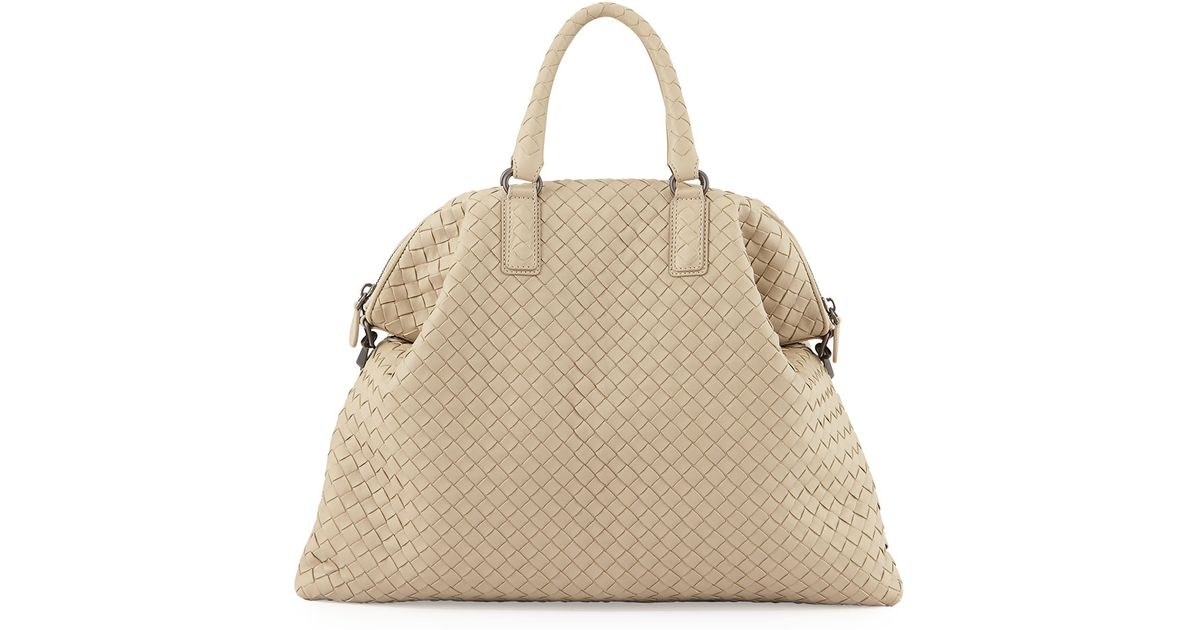 c04c92c210 Lyst - Bottega Veneta Medium Convertible Woven Tote Bag in Natural