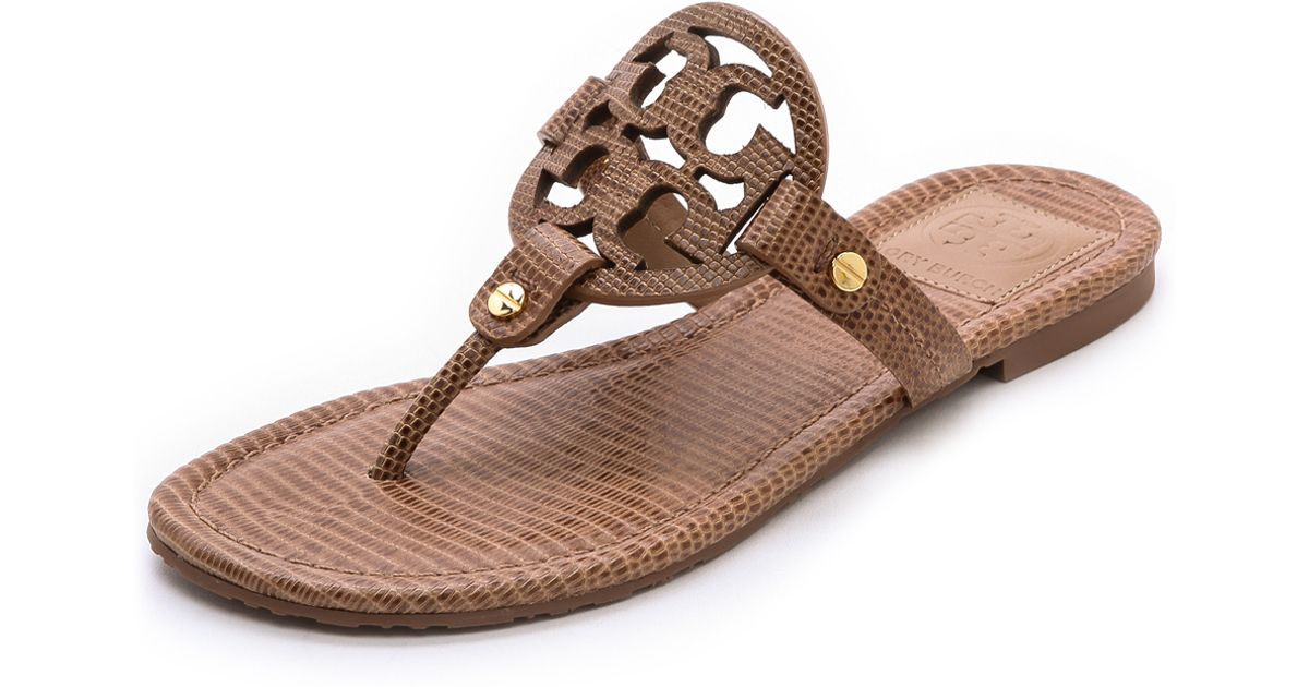 2a51e2165be3 Lyst - Tory Burch Miller Tejus Print Sandals Newport Navy in Brown