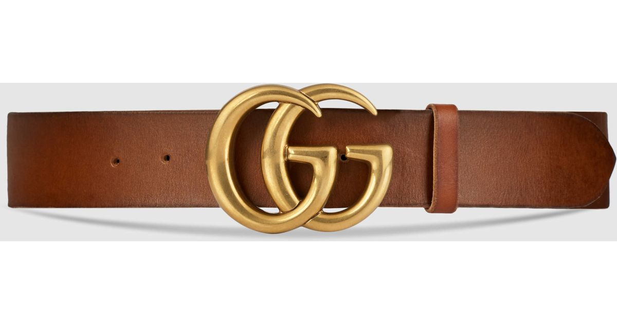 gucci leather belt with double g buckle in brown for men