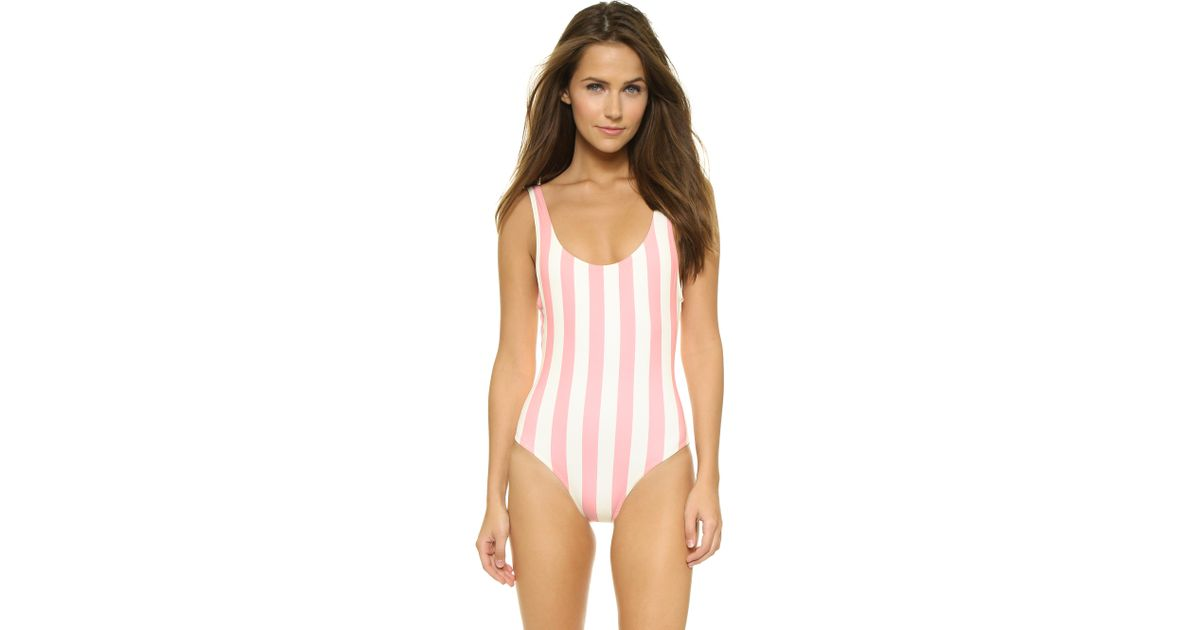 0db6b62be7 Lyst - Solid   Striped The Anne Marie One Piece Swimsuit - Pink   White  Stripe in Pink