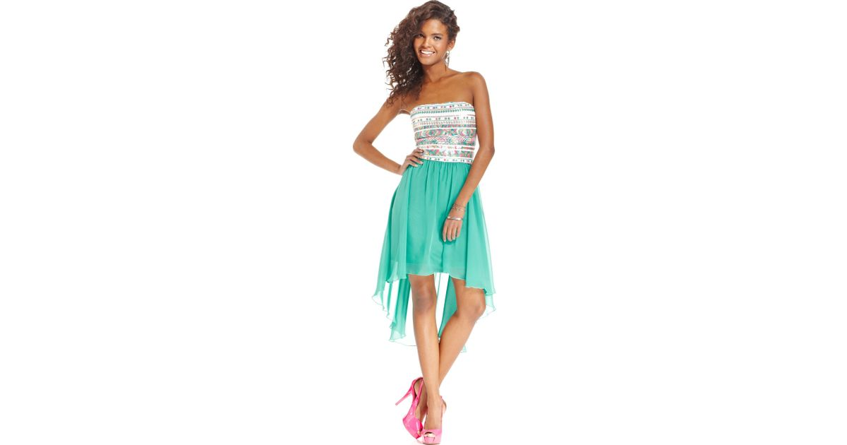 a4c3dd0e46 Lyst - As U Wish Juniors Strapless Sequin Highlow Dress in Green