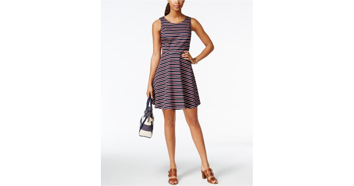 Tommy Hilfiger Peggy Striped Fit Amp Flare Dress In Blue