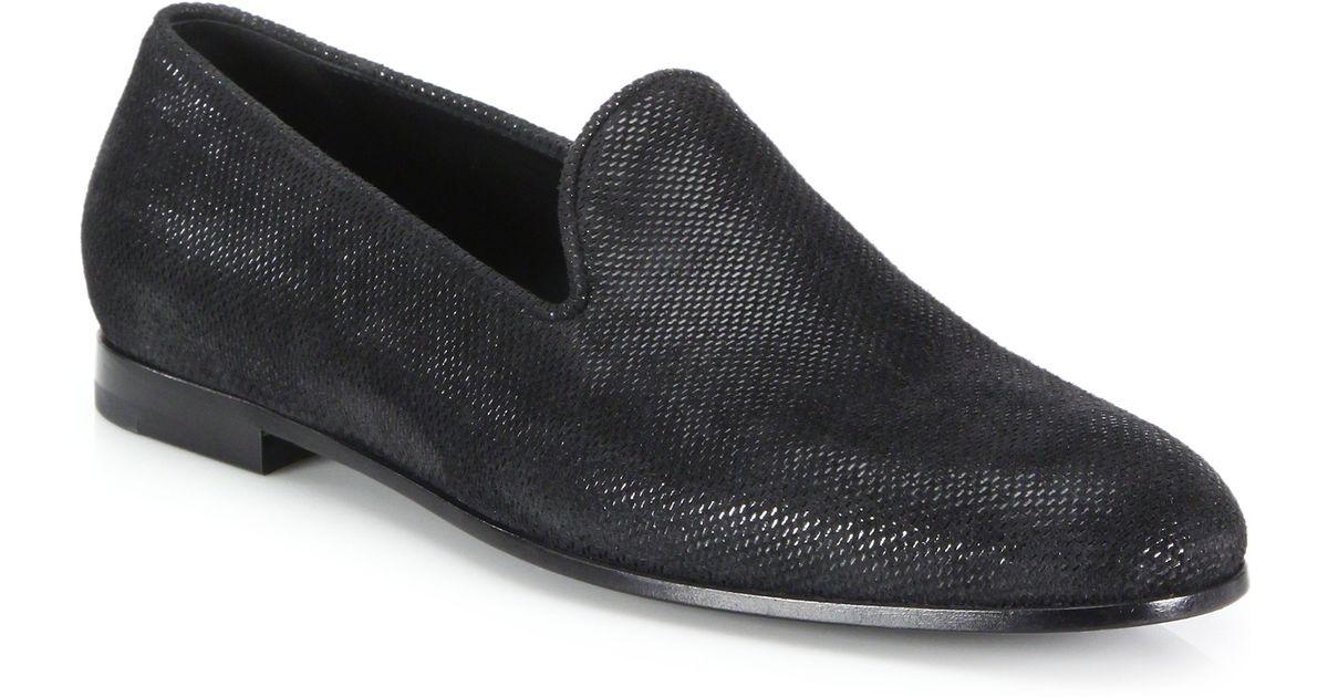 giorgio armani formal slipon loafers in black for men lyst
