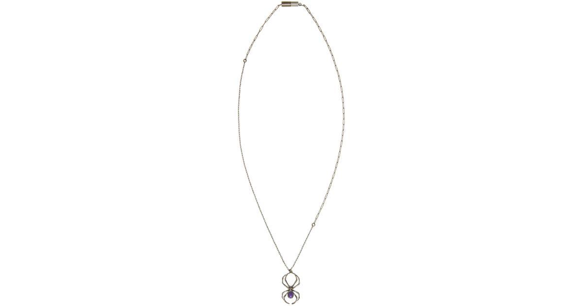 New Lyst - Lanvin Gunmetal & Purple Spider Necklace in Metallic ZW56
