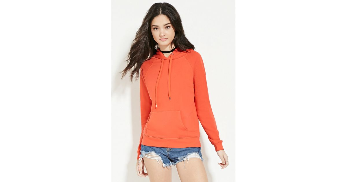 12 Forever Classic Features: Forever 21 Classic Fleece Hoodie In Orange
