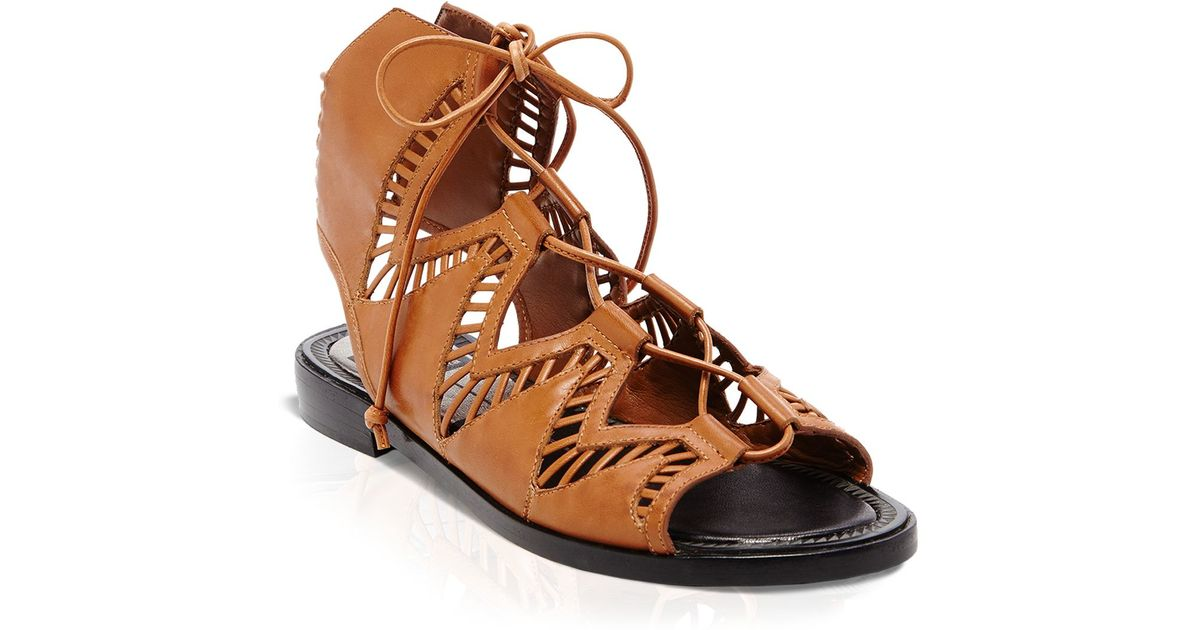 c0061aba1276 Lyst - Dolce Vita Flat Ghillie Lace Up Sandals - Deklon Cutout in Brown