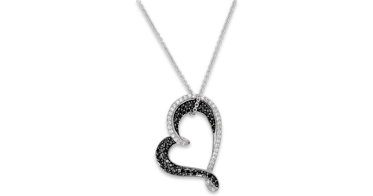 Macy s Black And White Diamond Heart Pendant Necklace In Sterling Silver