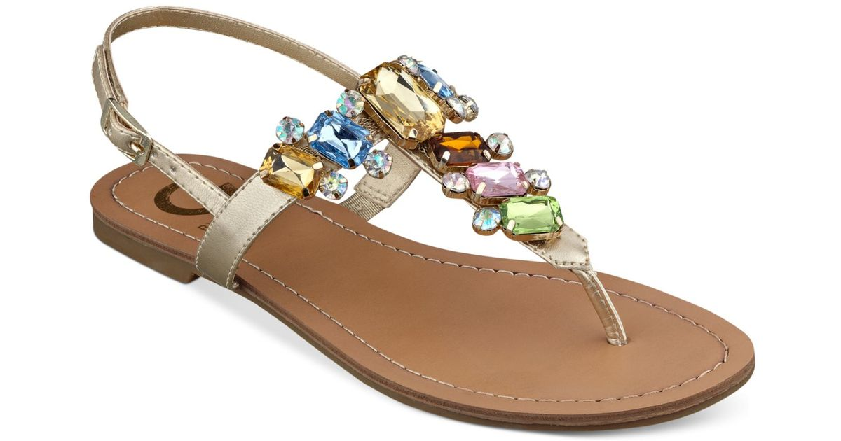 8096522c605 Lyst - G by Guess Women S Kyli T-Strap Flat Thong Sandals in Metallic