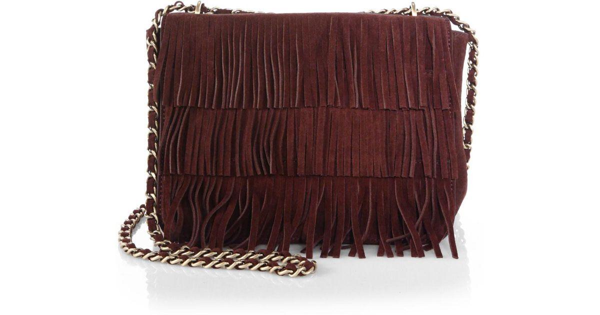 f43b37f11545 Lyst - Tory Burch Fringe Suede Shoulder Bag in Brown