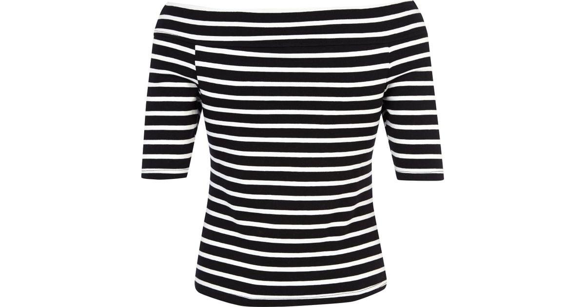 50964039921db River Island Black And White Stripe Bardot Top in Black - Lyst