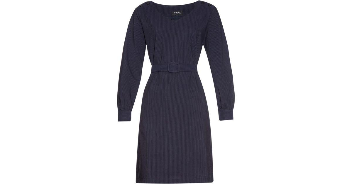 a p c robe masha cotton dress in blue navy lyst. Black Bedroom Furniture Sets. Home Design Ideas
