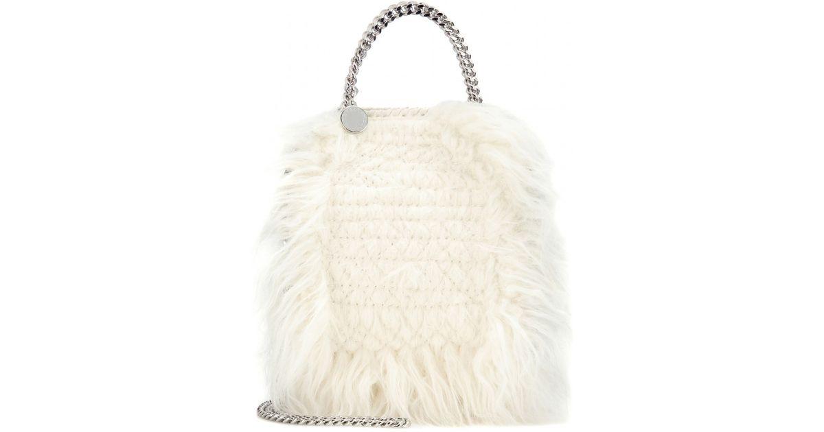 9ad34495bb8c Lyst - Stella McCartney Tiny Falabella Faux-Fur Shoulder Bag in White
